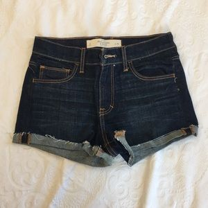 Abercrombie & Fitch High Waisted Dark Wash Shorts